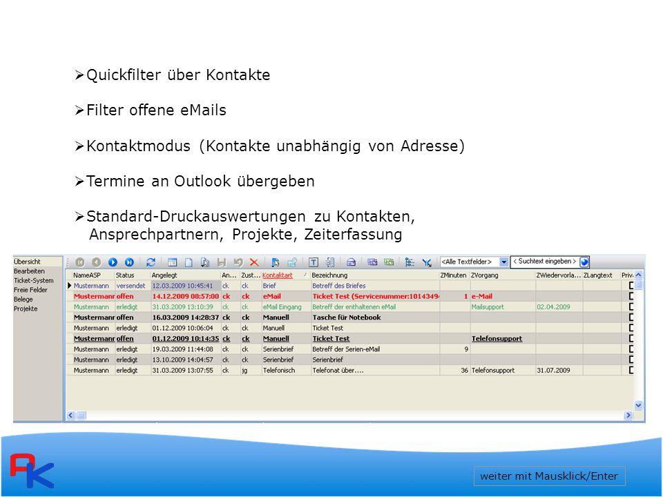 Quickfilter über Kontakte Filter offene eMails
