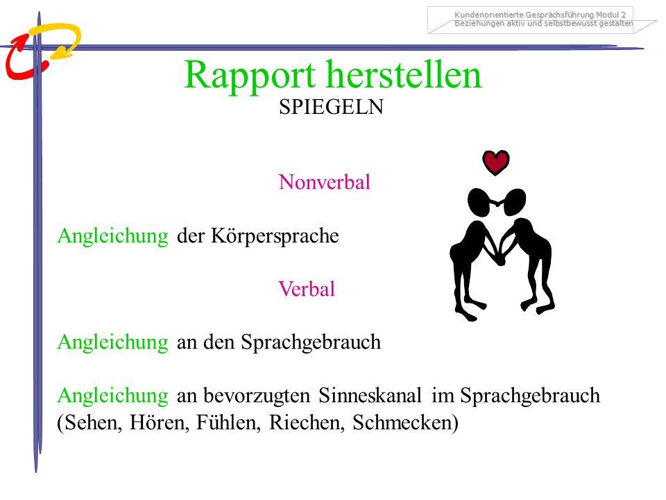Rapport herstellen SPIEGELN Nonverbal Angleichung der Körpersprache