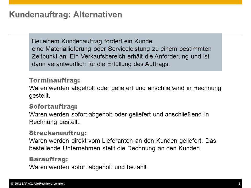 Kundenauftrag: Alternativen