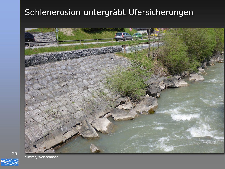 Sohlenerosion untergräbt Ufersicherungen