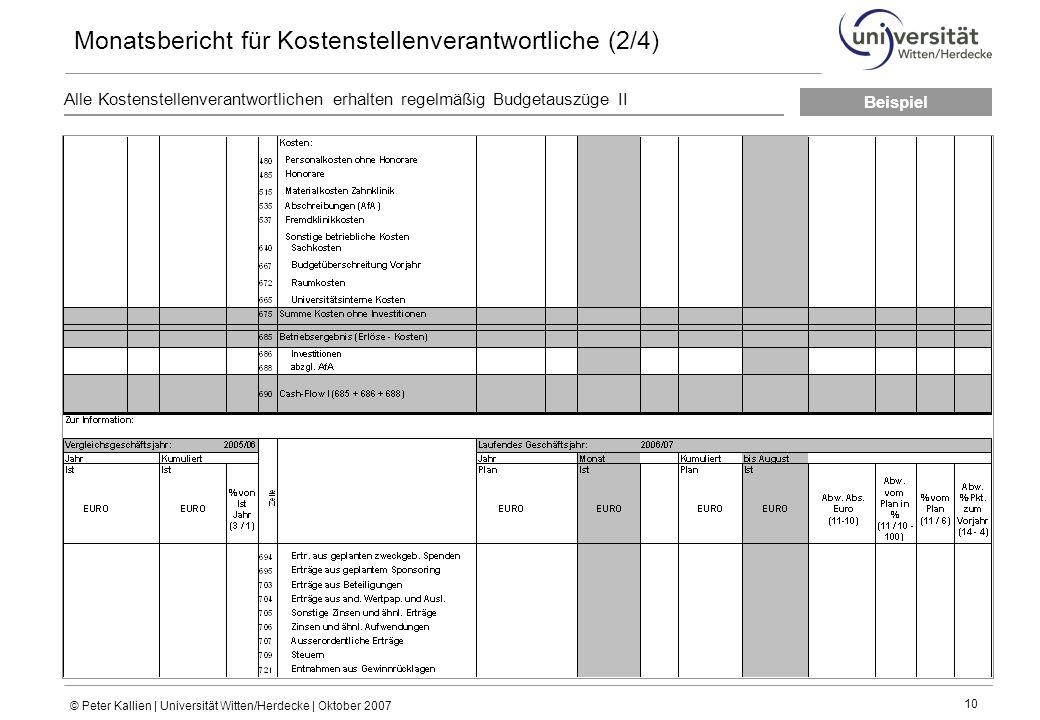 Monatsbericht für Kostenstellenverantwortliche (2/4)