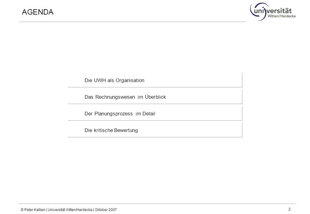 AGENDA Die UWH als Organisation Das Rechnungswesen im Überblick