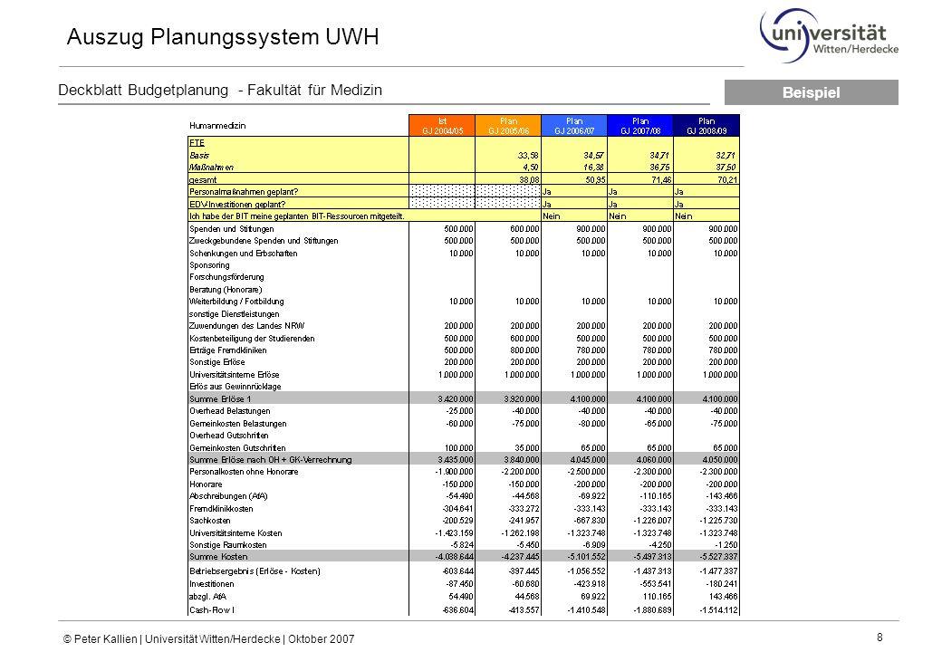 Auszug Planungssystem UWH