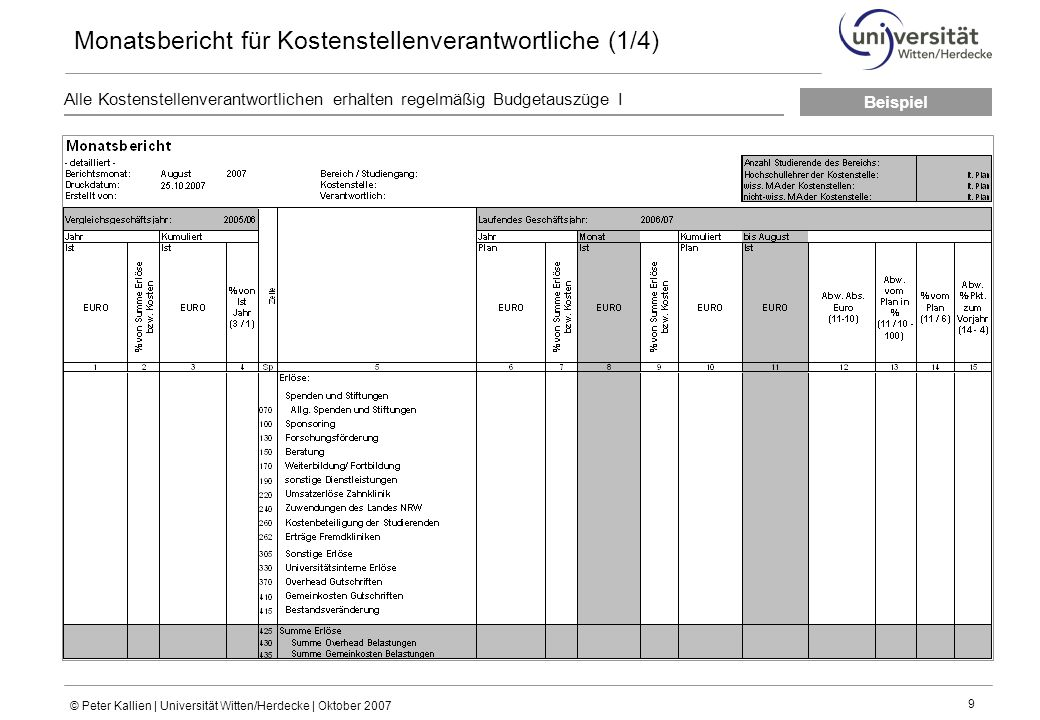 Monatsbericht für Kostenstellenverantwortliche (1/4)