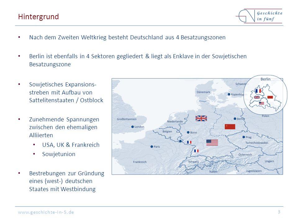 Hintergrund Nach dem Zweiten Weltkrieg besteht Deutschland aus 4 Besatzungszonen.