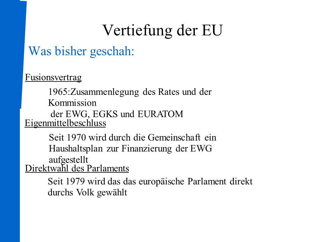 Vertiefung der EU Was bisher geschah: Fusionsvertrag