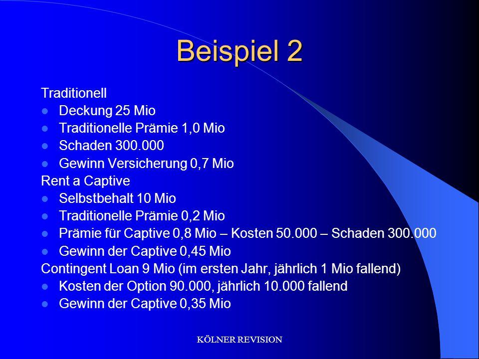 Beispiel 2 Traditionell Deckung 25 Mio Traditionelle Prämie 1,0 Mio