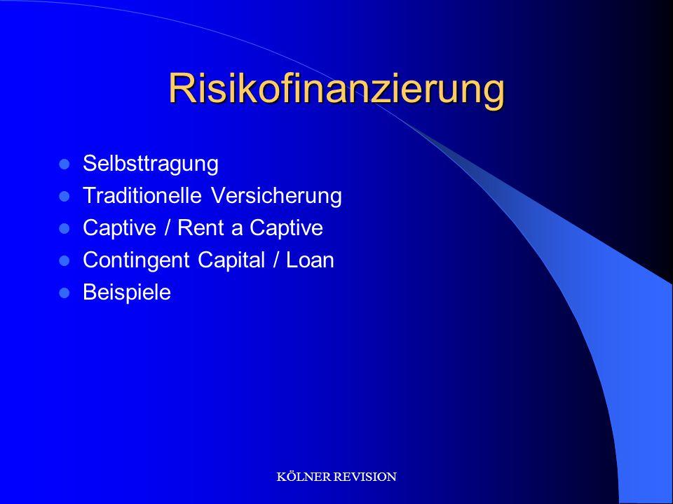 Risikofinanzierung Selbsttragung Traditionelle Versicherung