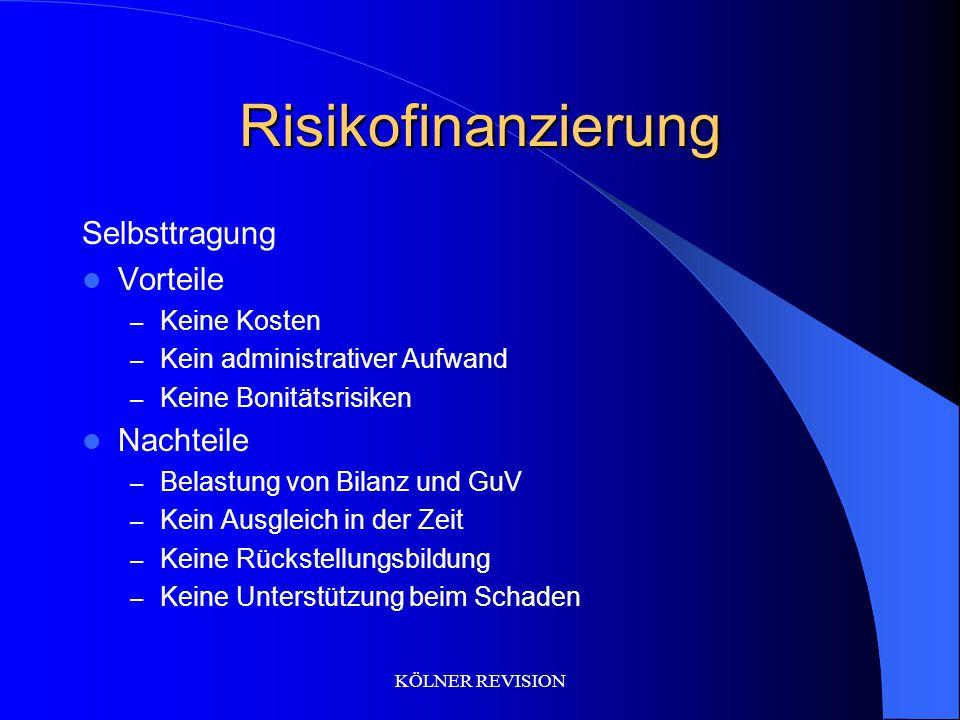 Risikofinanzierung Selbsttragung Vorteile Nachteile Keine Kosten