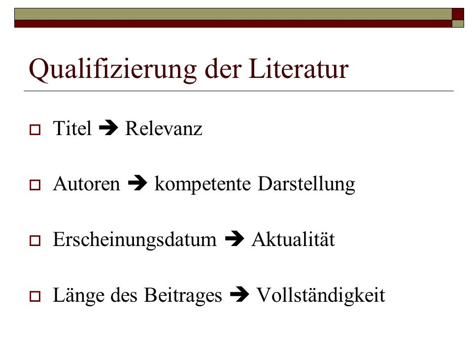 Qualifizierung der Literatur