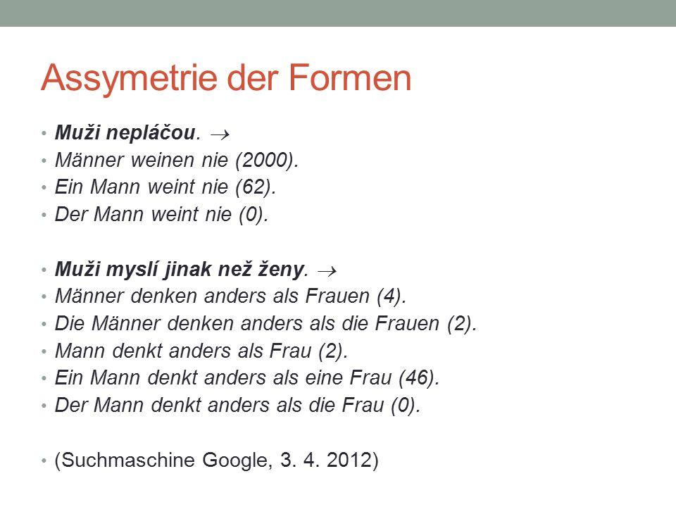 Assymetrie der Formen Muži nepláčou.  Männer weinen nie (2000).