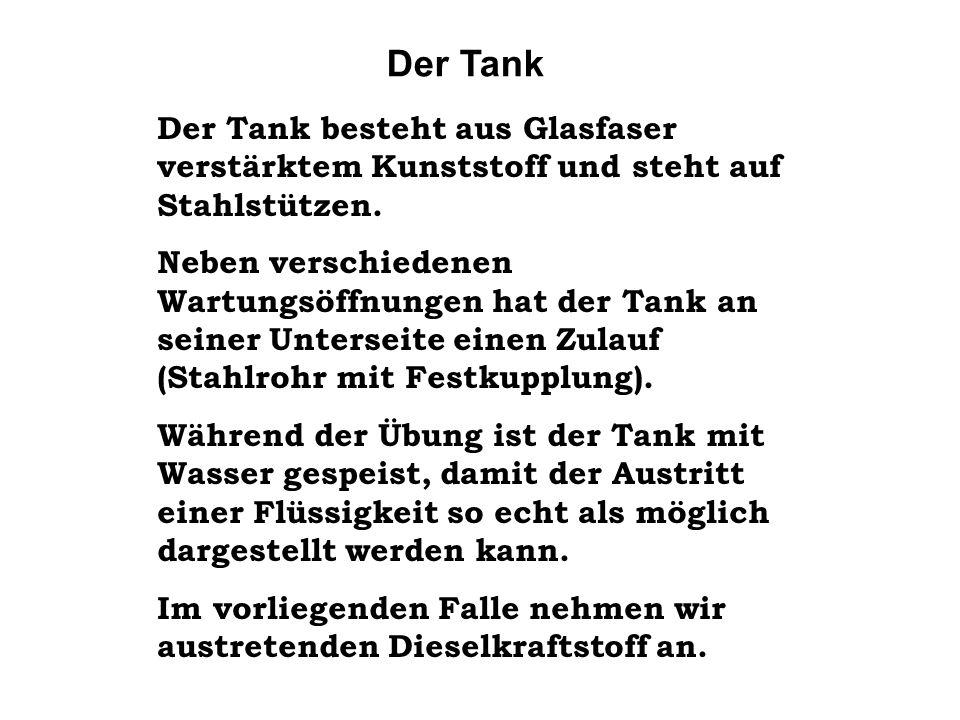 Der Tank Der Tank besteht aus Glasfaser verstärktem Kunststoff und steht auf Stahlstützen.