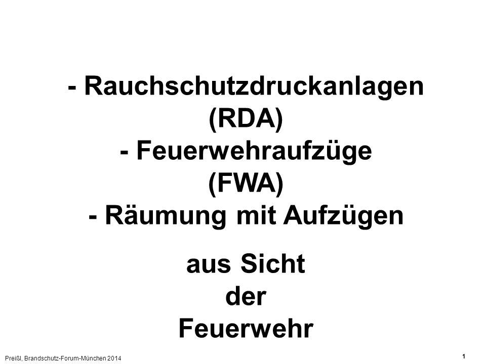 - Rauchschutzdruckanlagen (RDA) - Feuerwehraufzüge (FWA)