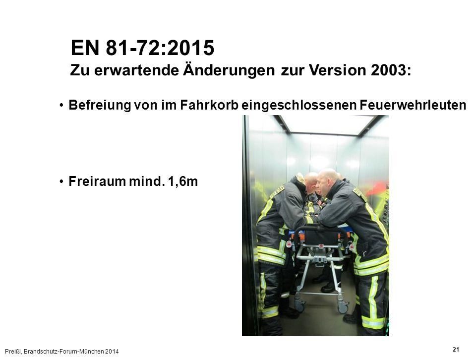 EN 81-72:2015 Zu erwartende Änderungen zur Version 2003: