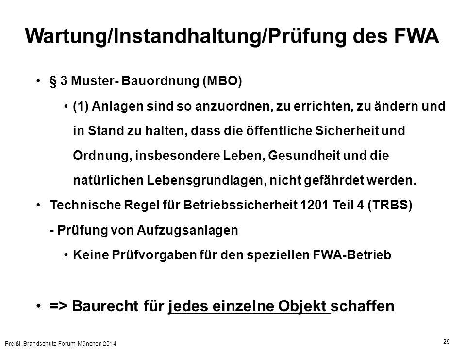 Wartung/Instandhaltung/Prüfung des FWA