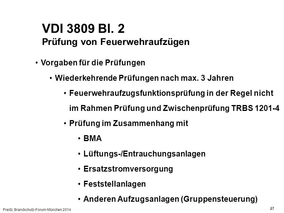 VDI 3809 Bl. 2 Prüfung von Feuerwehraufzügen