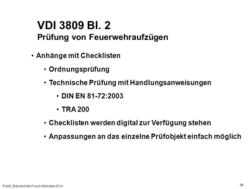 VDI 3809 Bl. 2 Prüfung von Feuerwehraufzügen Anhänge mit Checklisten