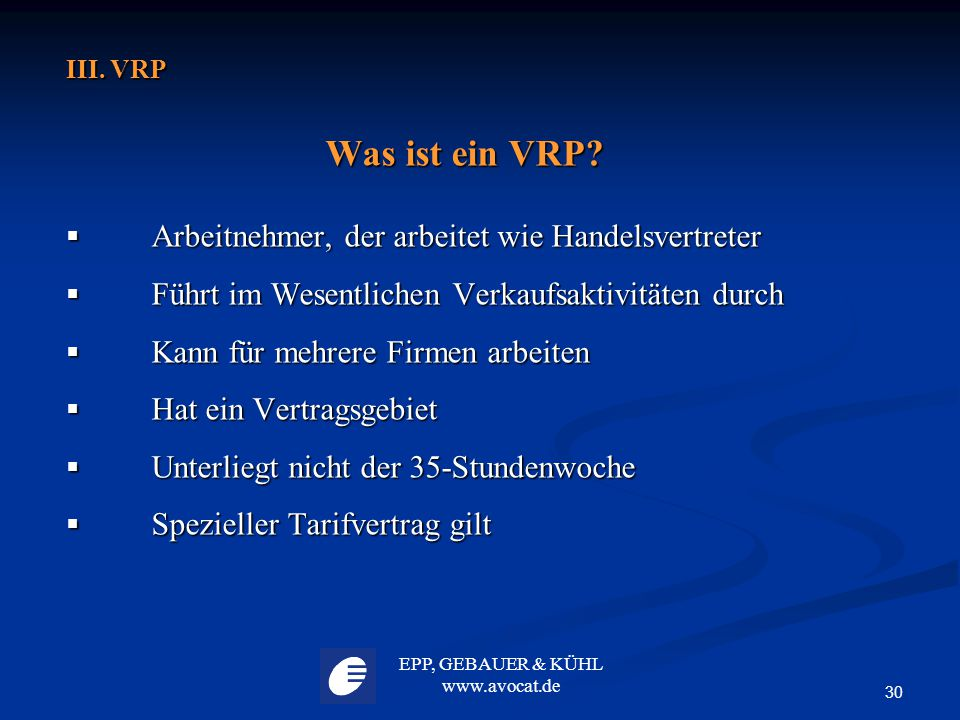 Was ist ein VRP Arbeitnehmer, der arbeitet wie Handelsvertreter
