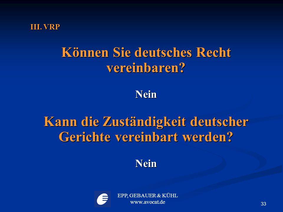 Können Sie deutsches Recht vereinbaren