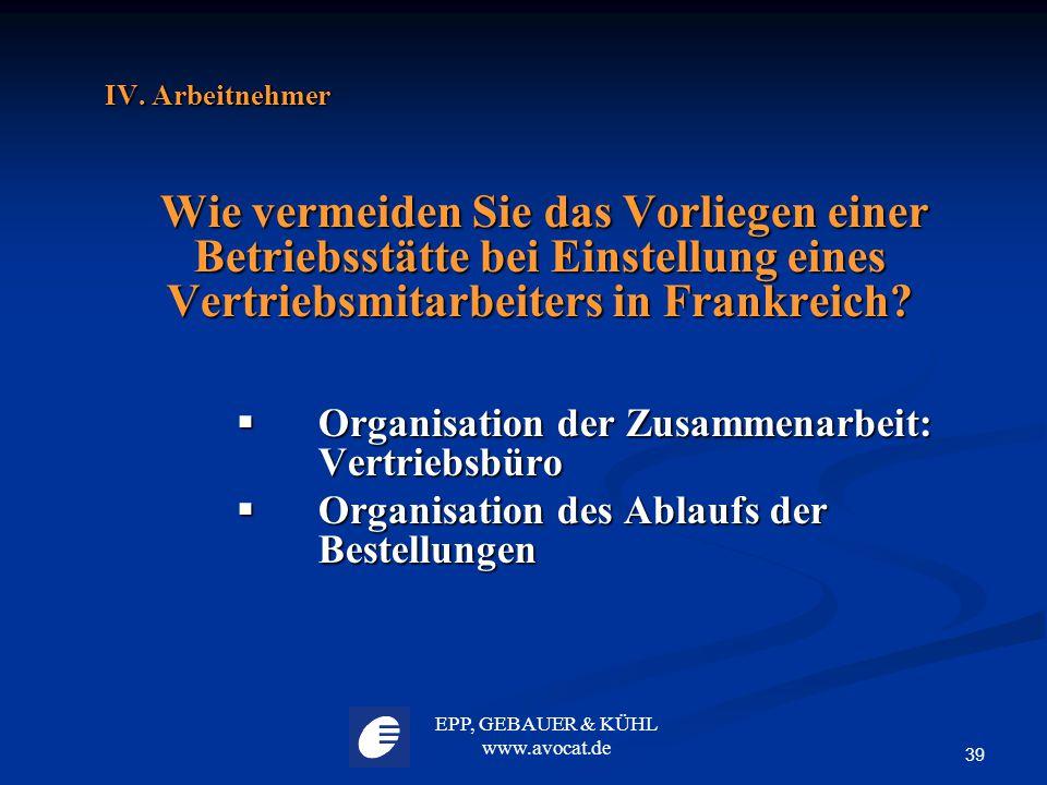 Organisation der Zusammenarbeit: Vertriebsbüro