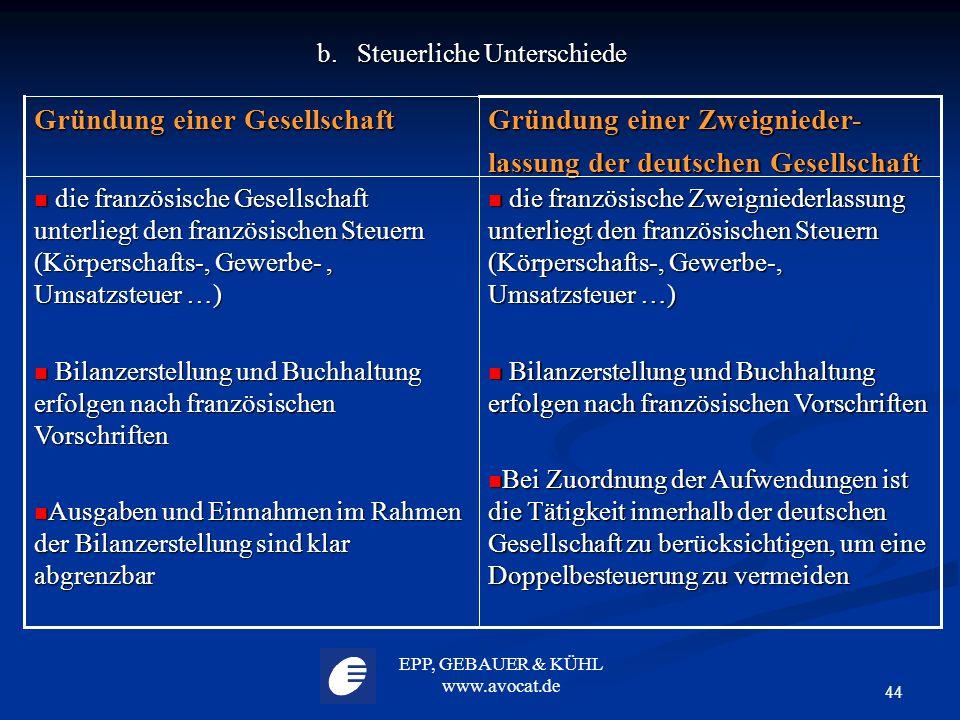 b. Steuerliche Unterschiede