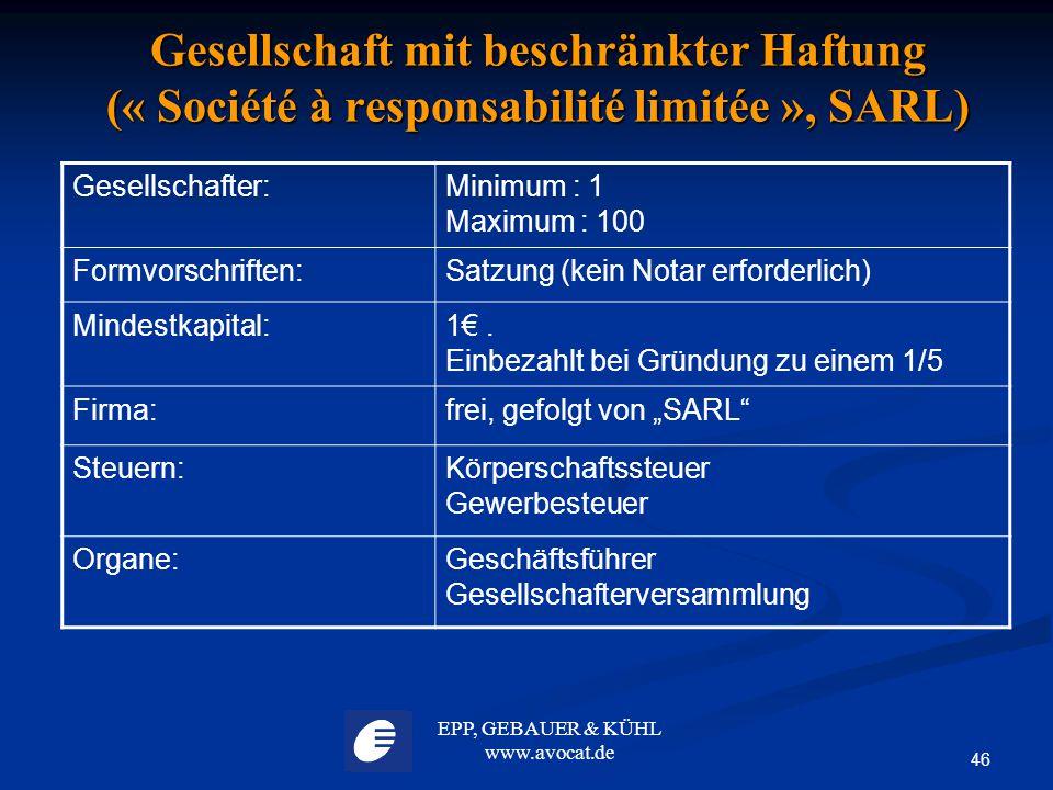 Gesellschaft mit beschränkter Haftung (« Société à responsabilité limitée », SARL)