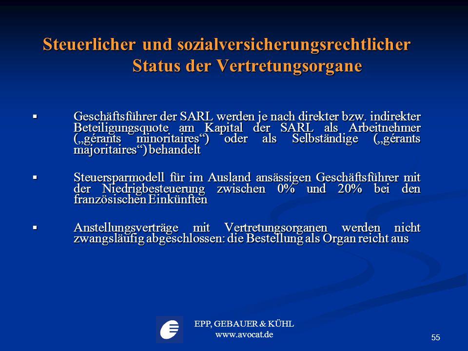 Steuerlicher und sozialversicherungsrechtlicher Status der Vertretungsorgane