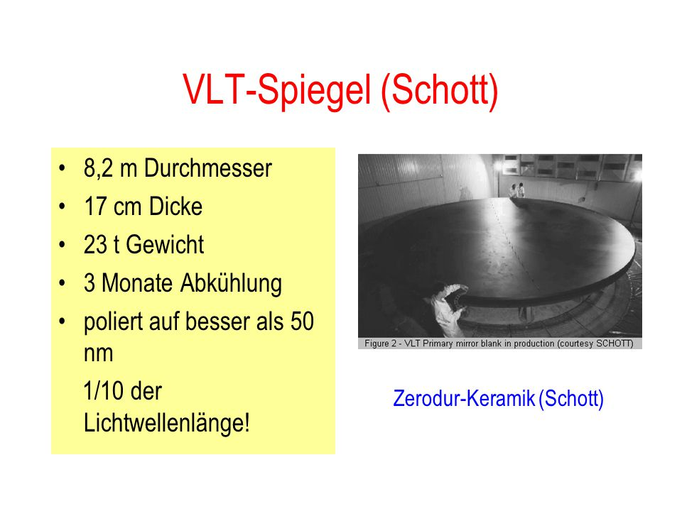 VLT-Spiegel (Schott) 8,2 m Durchmesser 17 cm Dicke 23 t Gewicht