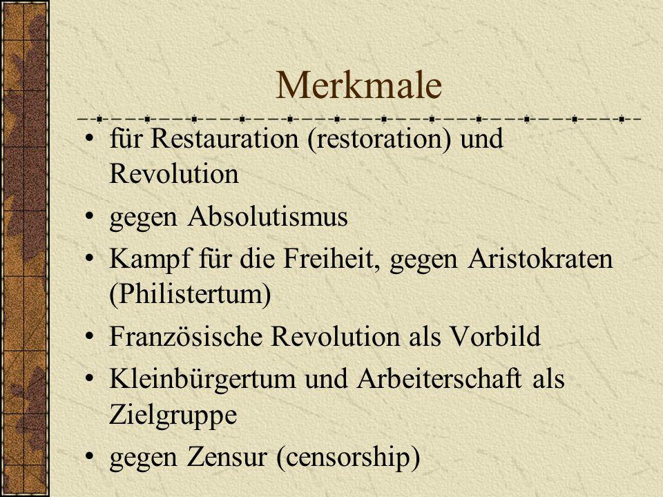 Merkmale für Restauration (restoration) und Revolution