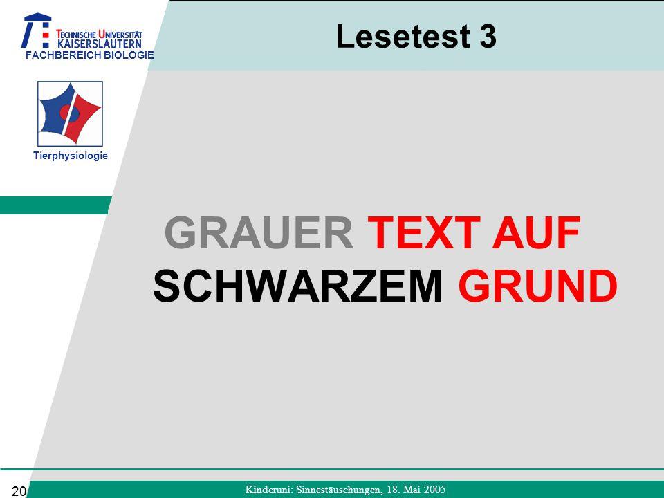 GRAUER TEXT AUF SCHWARZEM GRUND