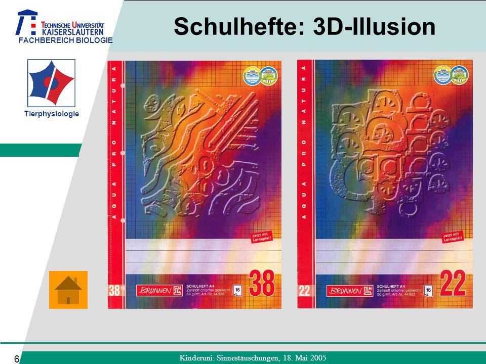Schulhefte: 3D-Illusion