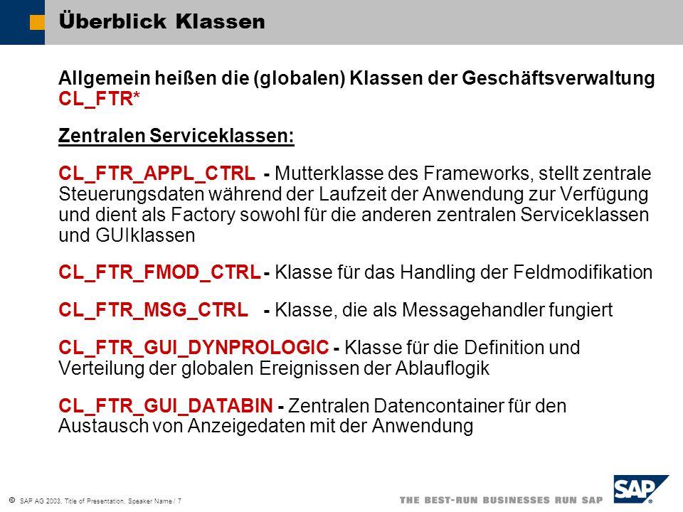 Überblick Klassen Allgemein heißen die (globalen) Klassen der Geschäftsverwaltung CL_FTR* Zentralen Serviceklassen: