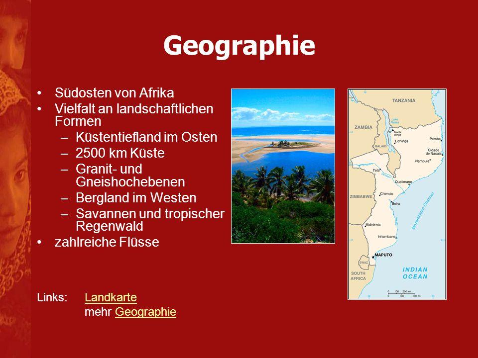 Geographie Südosten von Afrika Vielfalt an landschaftlichen Formen
