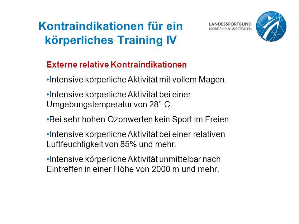 Kontraindikationen für ein körperliches Training IV