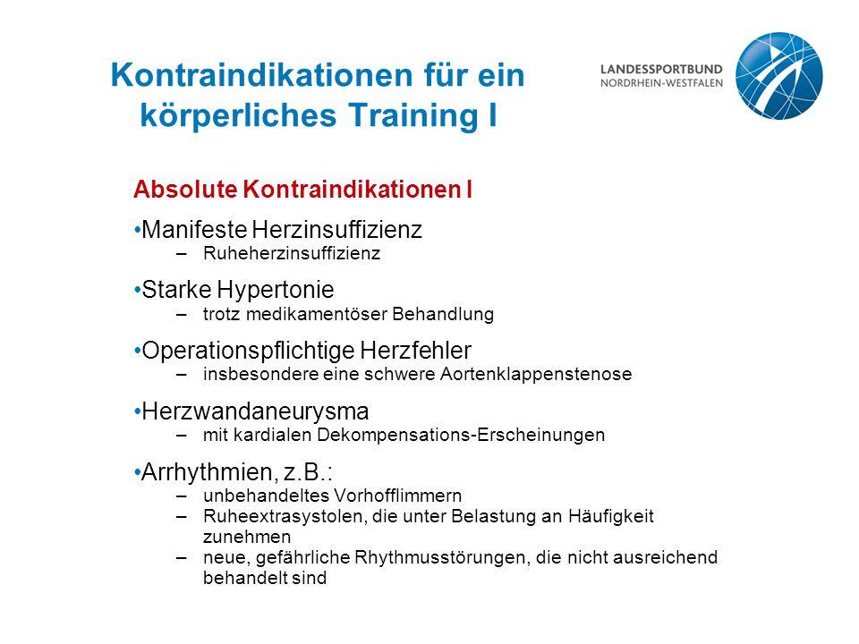 Kontraindikationen für ein körperliches Training I
