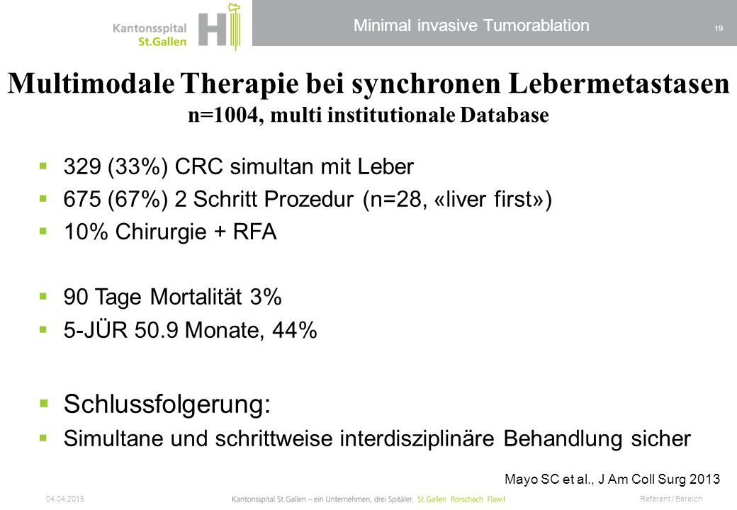 Multimodale Therapie bei synchronen Lebermetastasen n=1004, multi institutionale Database