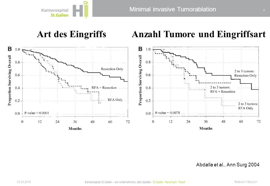 Anzahl Tumore und Eingriffsart