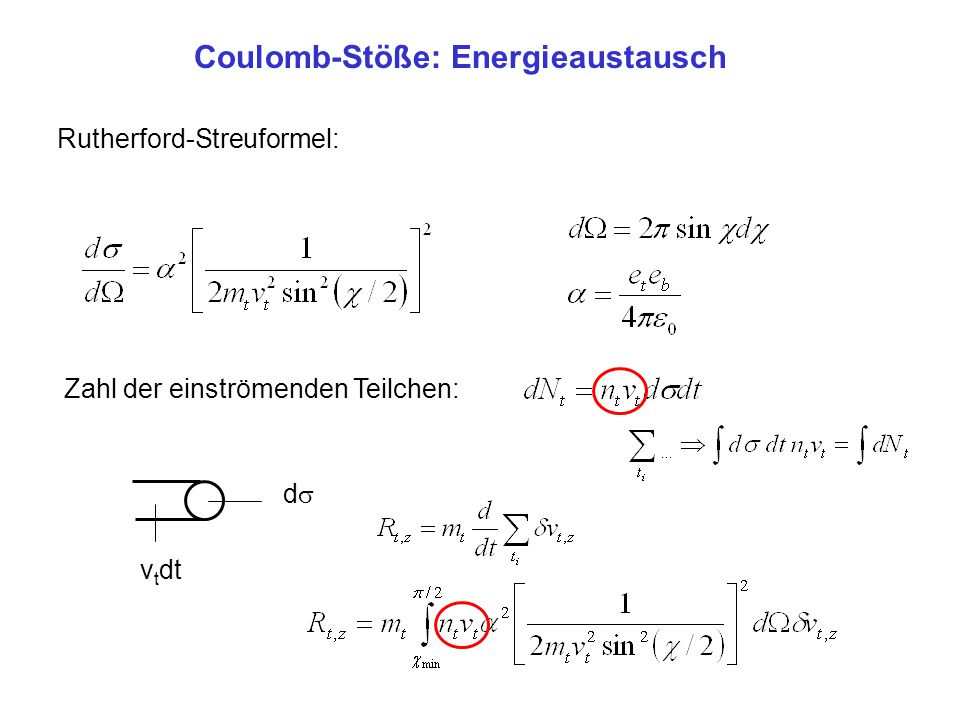 Coulomb-Stöße: Energieaustausch