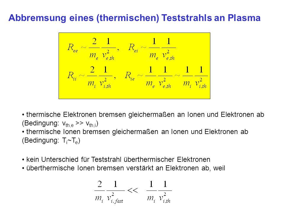 Abbremsung eines (thermischen) Teststrahls an Plasma