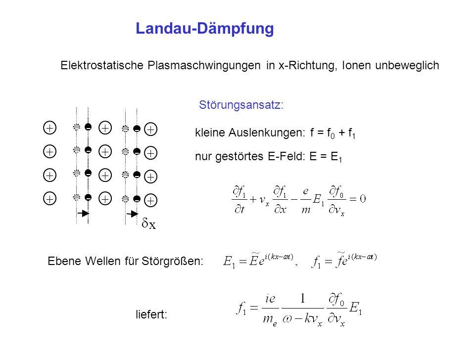 Landau-Dämpfung Elektrostatische Plasmaschwingungen in x-Richtung, Ionen unbeweglich. Störungsansatz: