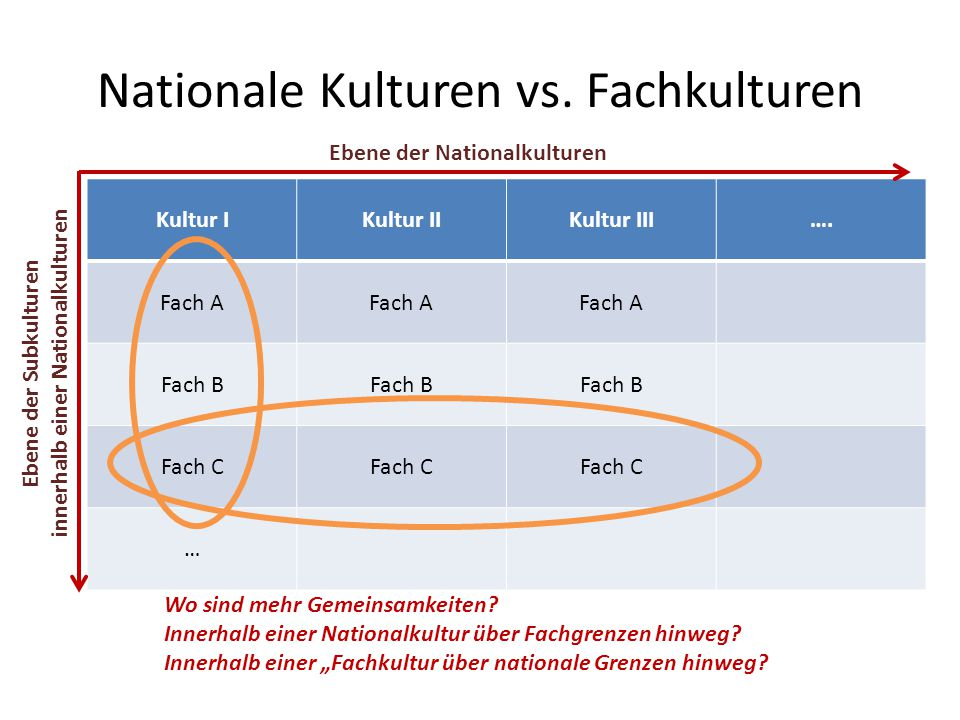 Nationale Kulturen vs. Fachkulturen