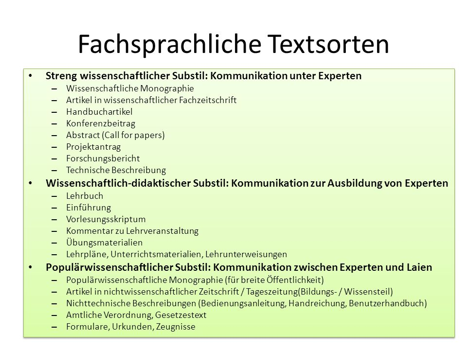 Fachsprachliche Textsorten