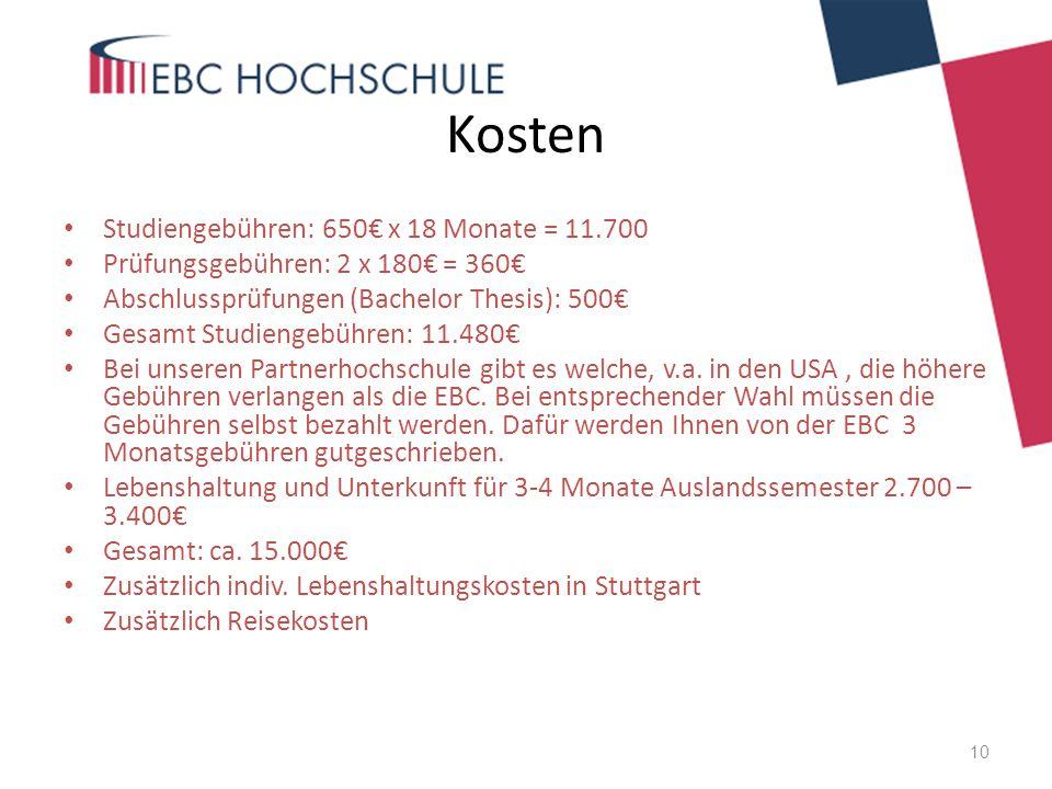 Kosten Studiengebühren: 650€ x 18 Monate = 11.700