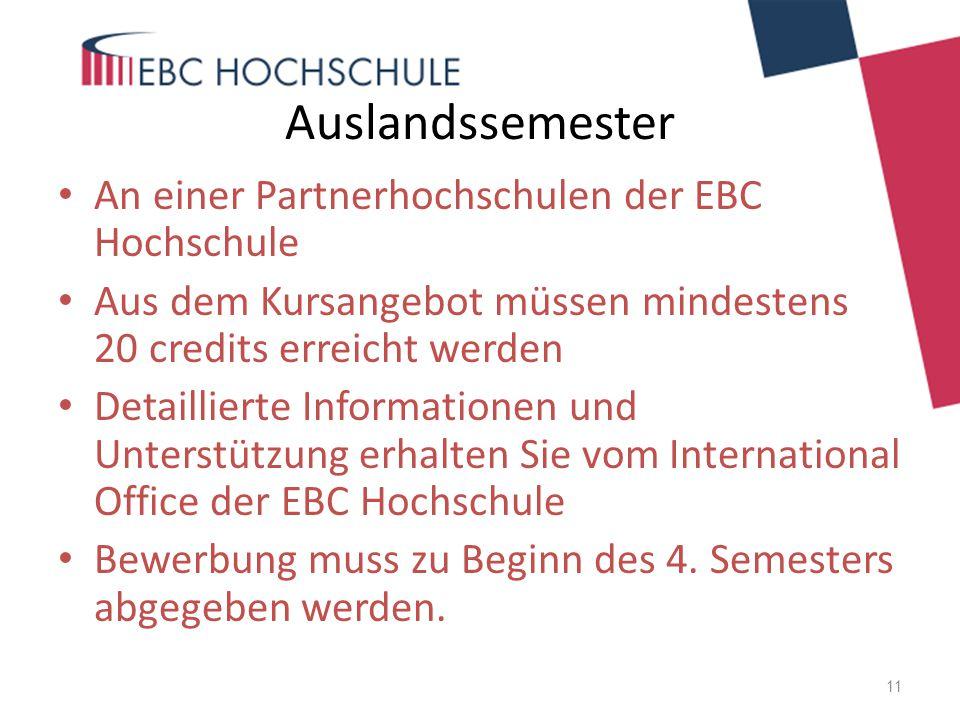 Auslandssemester An einer Partnerhochschulen der EBC Hochschule