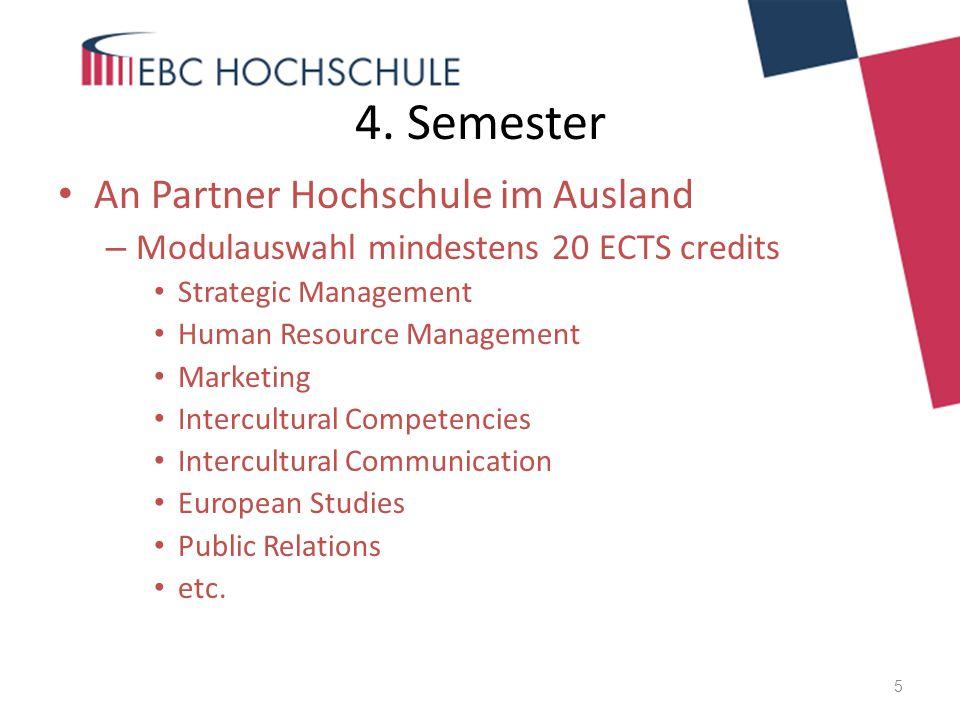 4. Semester An Partner Hochschule im Ausland
