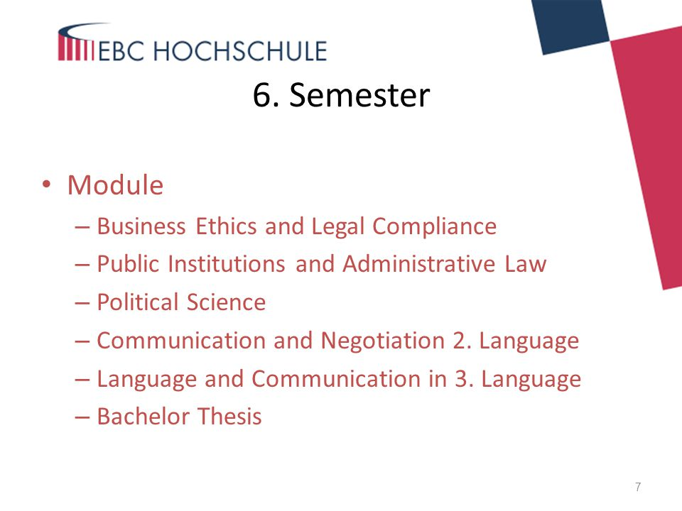 6. Semester Module Business Ethics and Legal Compliance
