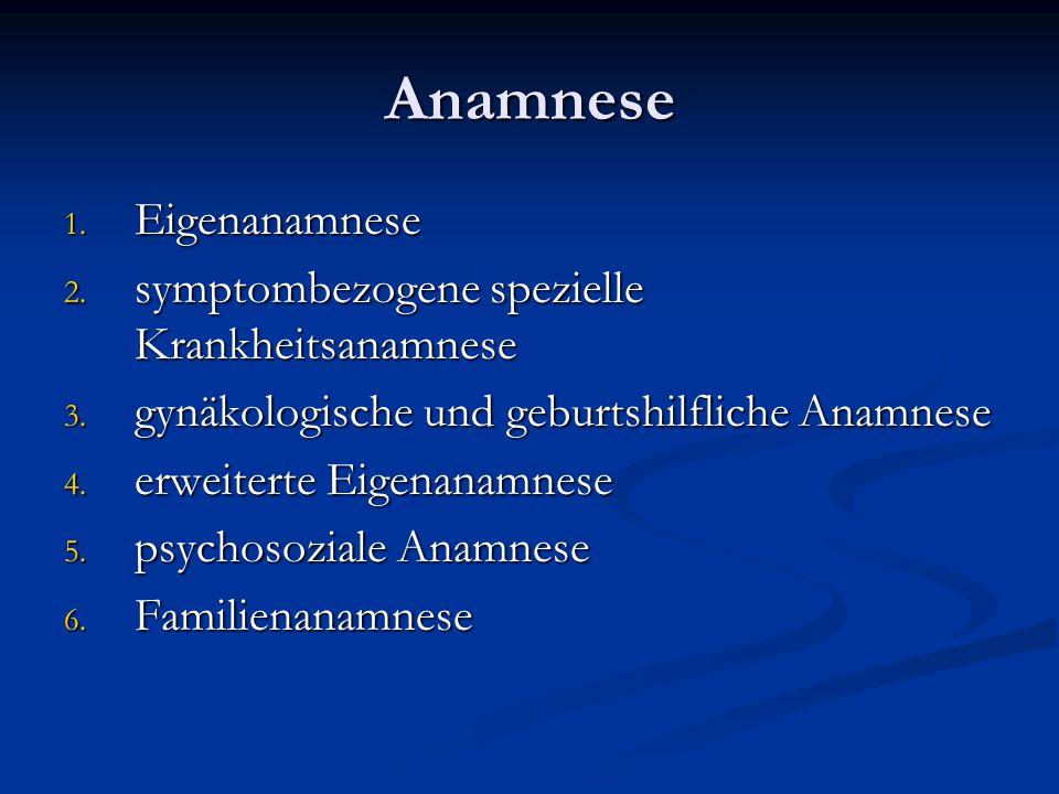 Anamnese Eigenanamnese symptombezogene spezielle Krankheitsanamnese