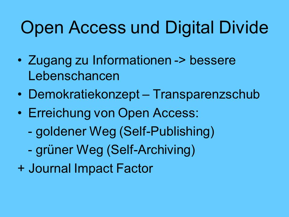 Open Access und Digital Divide