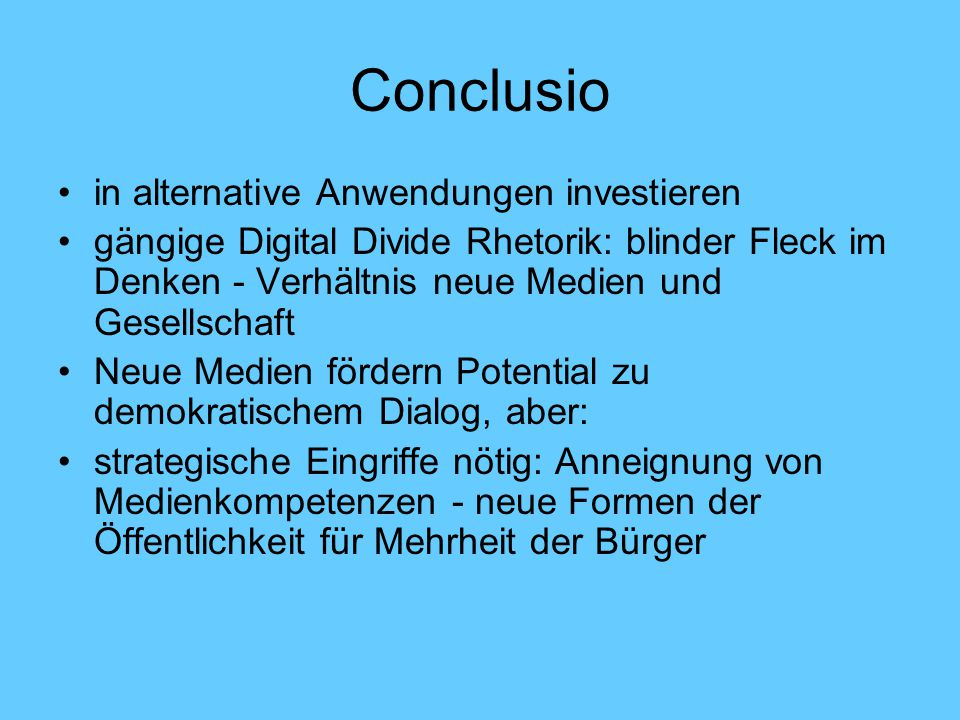 Conclusio in alternative Anwendungen investieren