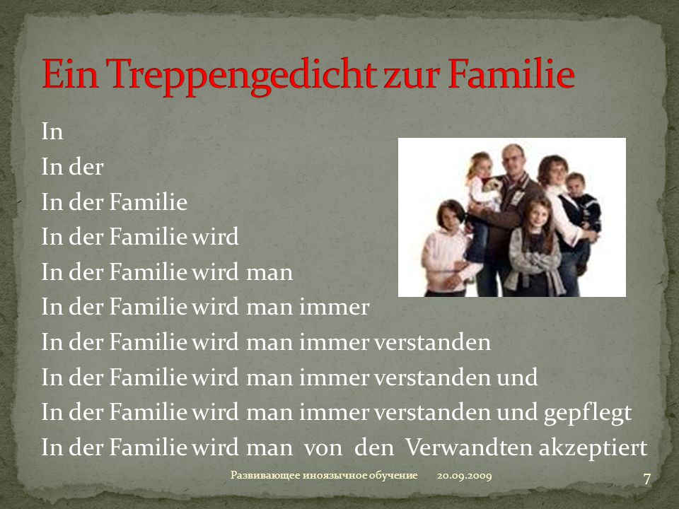 Ein Treppengedicht zur Familie